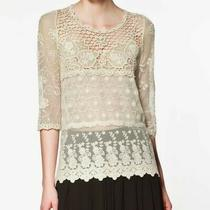 Zara Women's Size Small Ivory Lace Overlay Top Embroidered 3/4 Sleeves Photo
