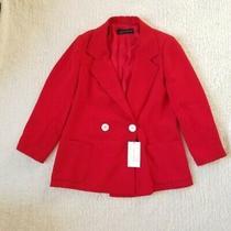Zara Women Size Extra Large Red Double Breasted Jacket Xl Blazer Photo