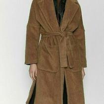 Zara Women Warm Teddy Brown Faux Fur Coat W Tie Belt New With Tag Size M 10 Bnib Photo