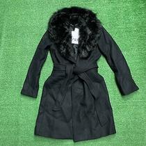 Zara Womens Coat Fur Collar Black Size Xs Nwt Msrp 199 Peacoat  Photo