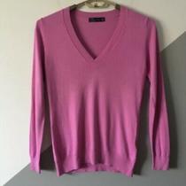 Zara Womens L Sascha Deep v Sweater Lightweight Knit Top Fuschia Photo