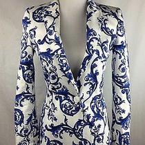 Zara Womens Large White Blue Porcelain Ceramic Print One-Button Blazer- Rare Photo