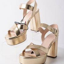 Zara Womens Metallic Gold Platform Block Heel Sandals Sz 8 Eu 39 2833/001 Nwt Photo