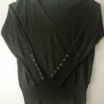 Zara  Womens v Neck Sweater Olive Green Button on Sleeves Size Large Photo