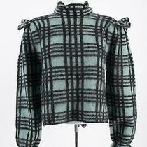 Zara Womens Wool Mohair Checked Sweater L High Collar Ruffle Blue Black Nwt Photo