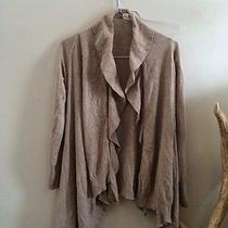 Zara Womens Wrap Sweater Light Brown Ruffled Edge Gently Worn Photo