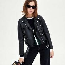 Zara Xs Size 6-8 Trf Biker Jacket Black Faux Leather With Belt Rrp 49 Photo