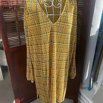 Zara Yellow Plisse Check Top/tunic v Neck Length 36 Sleeves 21 100% Polyester Photo