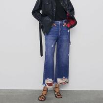 Zara Z1975 High Rise Straight Jeans Size 2 Blue Plaid Blogger Favorite Women's Photo