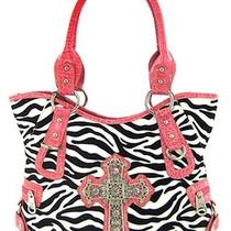 Zebra Handbag Rhinestone Cross-Montana West-Pink/white-New Arrival- Few in Stock Photo