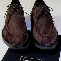 Zegna Shoes 690 Dark Brown Suede Split Toe Lace Up Gum Sole Derby 9 42e New Photo