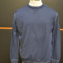 Zegna Sport Cashmere Blend L/s Crewneck Xxxl Heathered Navy Blue Sweater 10073 Photo