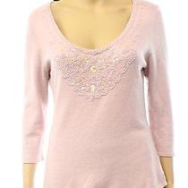 Zen Cashmere Pink Blush Women's Size Xs Scoop Neck Cashmere Sweater 188- Deal Photo
