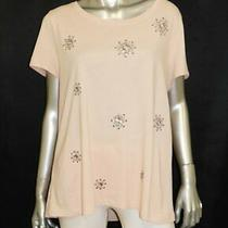 Zenergy by Chico's New Blush Pink Sequin Snowflake Short Sleeve Shirt Sz Xl C-3 Photo