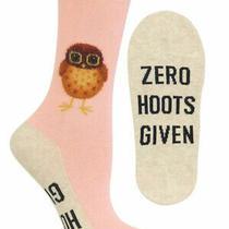 Zero Hoots Givenhotsox Women's Crew Socks Blush New Novelty Owl Fashion Nwt Photo