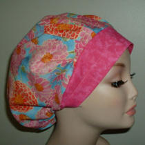 Zinnias Mod Flowers or Surgical Bouffant Scrub Hat Cordlock Aqua Blue Pinks Corn Photo
