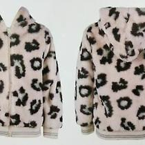 Zunie Girls Plush Hooded Jacket Blush Leopard Xxs 3/4 - New Photo