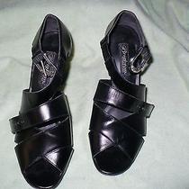 Zz Brighton Vogue Italian Made Black Leather Heels Womens 8.5 M Photo